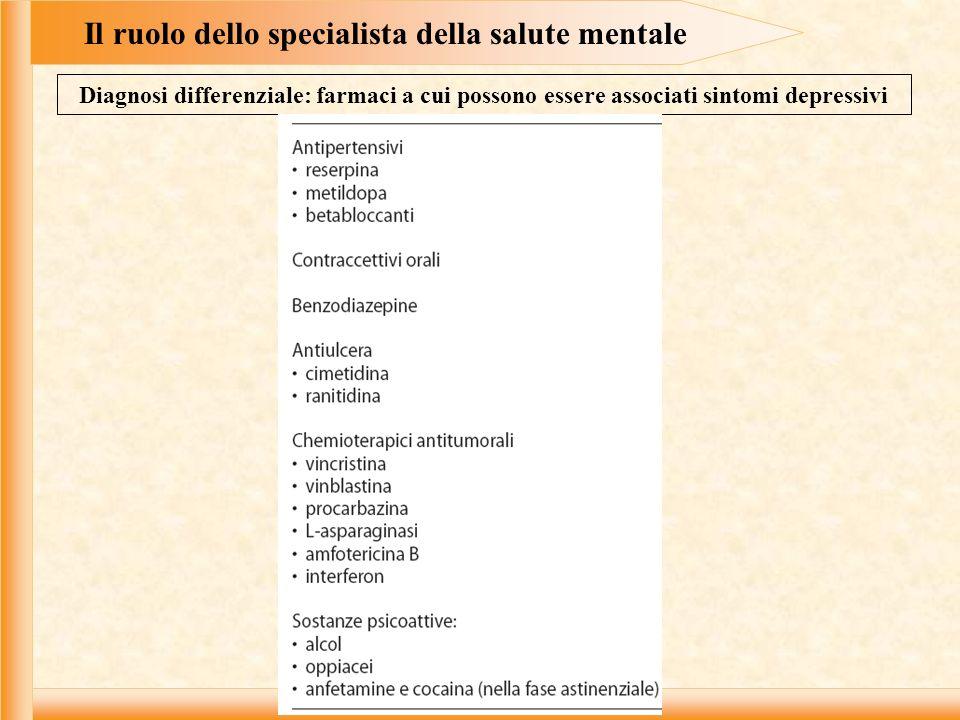 Il ruolo dello specialista della salute mentale Diagnosi differenziale: farmaci a cui possono essere associati sintomi depressivi