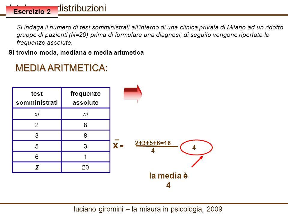 database e distribuzioni MEDIA ARITMETICA: 2+3+5+6=16 4 x = 4 la media è 4 luciano giromini – la misura in psicologia, 2009 Esercizio 2 Si indaga il numero di test somministrati allinterno di una clinica privata di Milano ad un ridotto gruppo di pazienti (N=20) prima di formulare una diagnosi; di seguito vengono riportate le frequenze assolute.