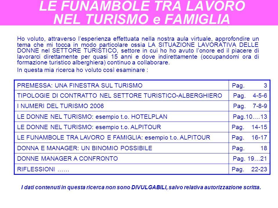 LE FUNAMBOLE TRA LAVORO NEL TURISMO e FAMIGLIA