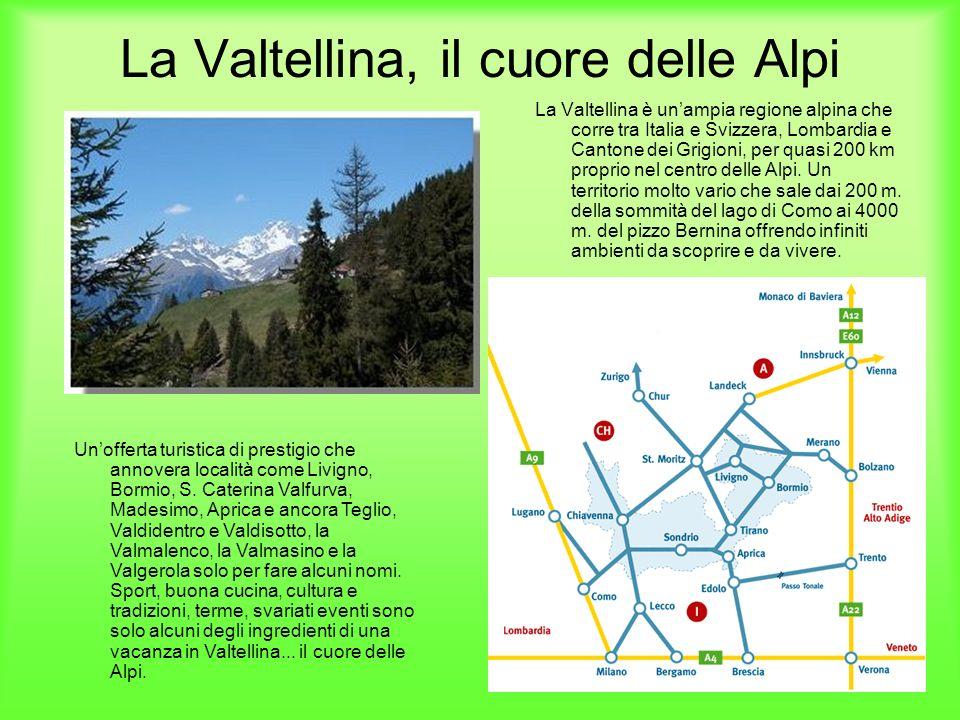 La Valtellina, il cuore delle Alpi La Valtellina è unampia regione alpina che corre tra Italia e Svizzera, Lombardia e Cantone dei Grigioni, per quasi