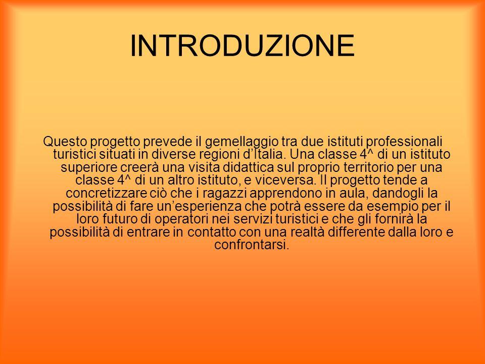 INTRODUZIONE Questo progetto prevede il gemellaggio tra due istituti professionali turistici situati in diverse regioni dItalia. Una classe 4^ di un i