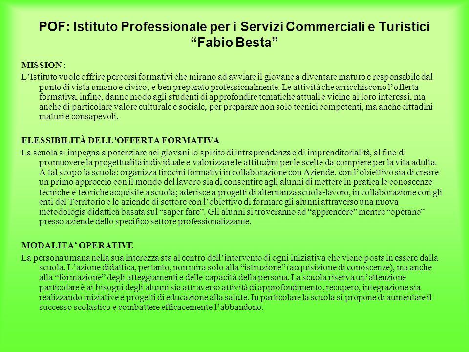 POF: Istituto Professionale per i Servizi Commerciali e Turistici Fabio Besta MISSION : LIstituto vuole offrire percorsi formativi che mirano ad avvia