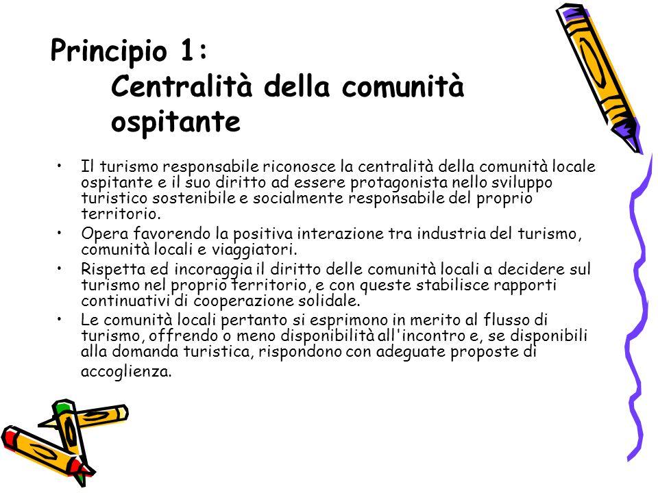 Criterio 1.1 Il viaggio è organizzato con il coinvolgimento delle comunit à locali.