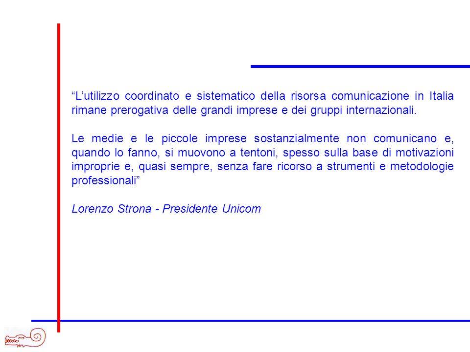 Lutilizzo coordinato e sistematico della risorsa comunicazione in Italia rimane prerogativa delle grandi imprese e dei gruppi internazionali.