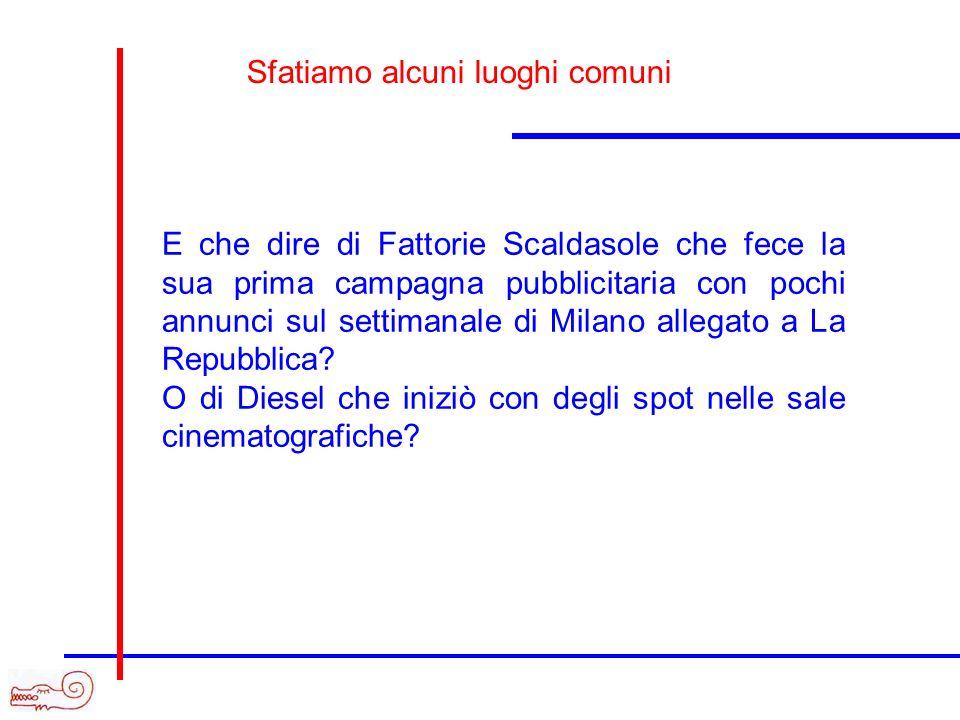 E che dire di Fattorie Scaldasole che fece la sua prima campagna pubblicitaria con pochi annunci sul settimanale di Milano allegato a La Repubblica? O