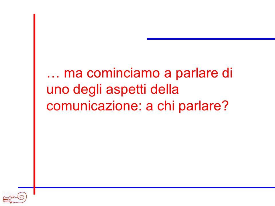 … ma cominciamo a parlare di uno degli aspetti della comunicazione: a chi parlare?