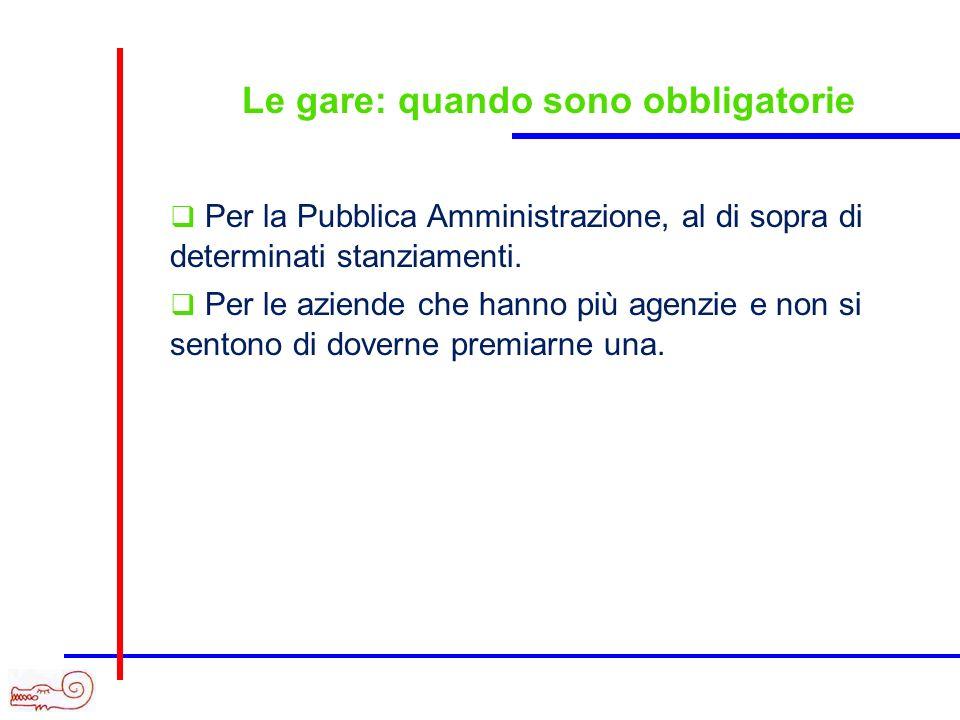 Le gare: quando sono obbligatorie Per la Pubblica Amministrazione, al di sopra di determinati stanziamenti.