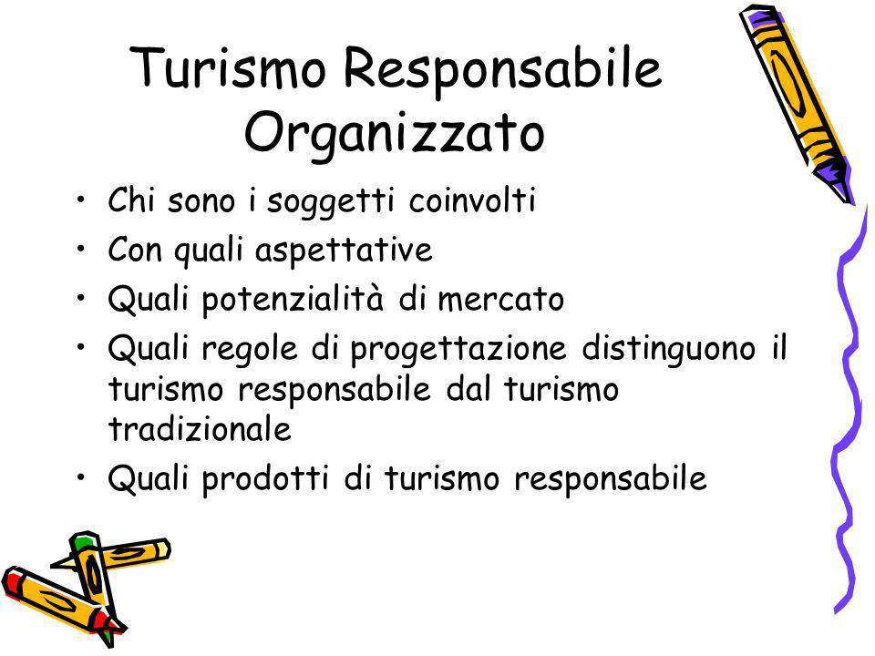 Turismo Responsabile Organizzato Chi sono i soggetti coinvolti Con quali aspettative Quali potenzialità di mercato Quali regole di progettazione disti