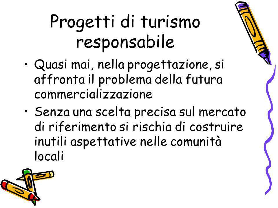 Progetti di turismo responsabile Quasi mai, nella progettazione, si affronta il problema della futura commercializzazione Senza una scelta precisa sul