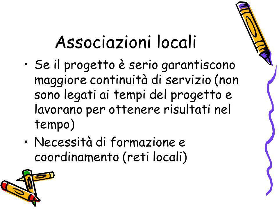 Associazioni locali Se il progetto è serio garantiscono maggiore continuità di servizio (non sono legati ai tempi del progetto e lavorano per ottenere