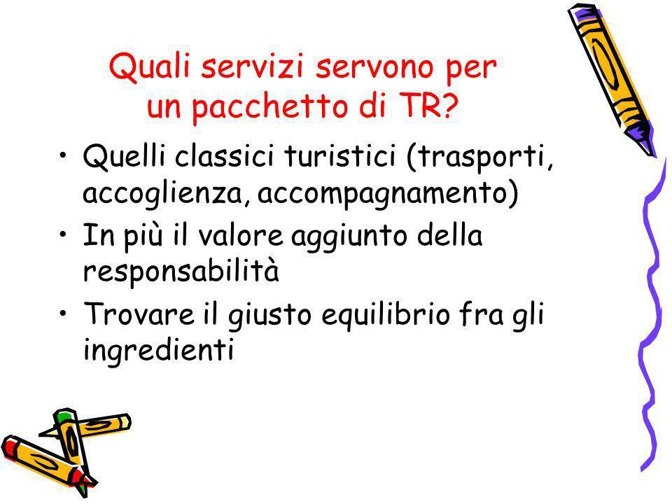 Quali servizi servono per un pacchetto di TR? Quelli classici turistici (trasporti, accoglienza, accompagnamento) In più il valore aggiunto della resp