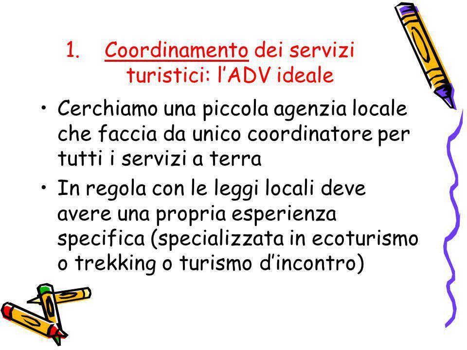 1.Coordinamento dei servizi turistici: lADV ideale Cerchiamo una piccola agenzia locale che faccia da unico coordinatore per tutti i servizi a terra I