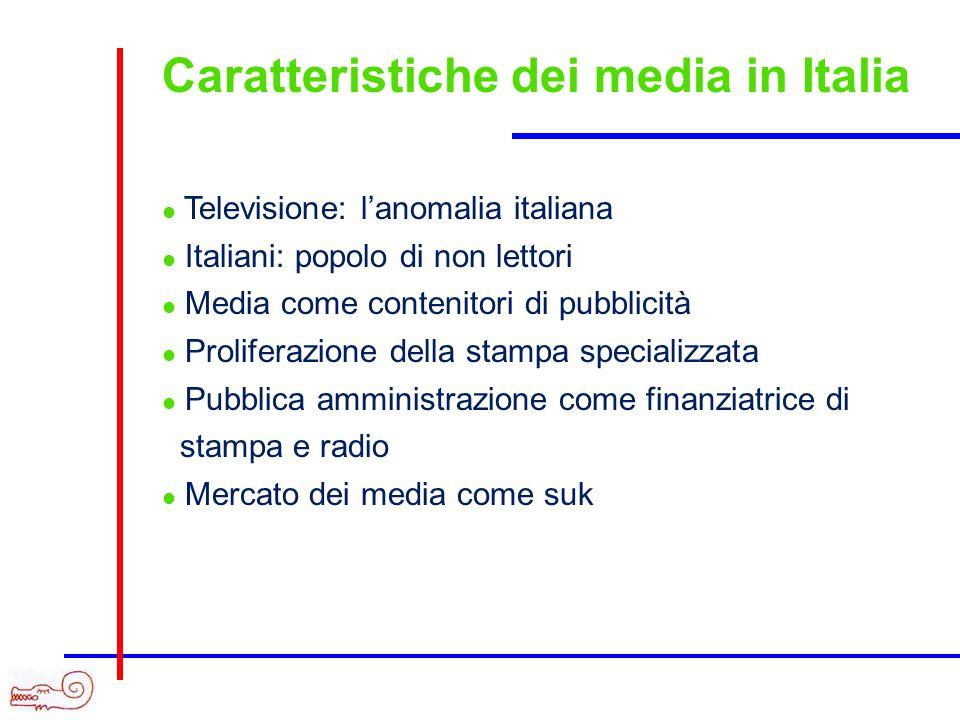 Caratteristiche dei media in Italia Televisione: lanomalia italiana Italiani: popolo di non lettori Media come contenitori di pubblicità Proliferazione della stampa specializzata Pubblica amministrazione come finanziatrice di stampa e radio Mercato dei media come suk