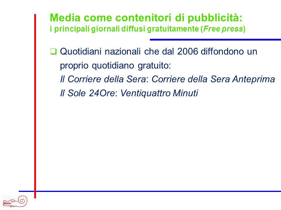 Proliferazione della stampa specializzata: i principali periodici sulla pubblicità Quotidiani (inviati via web) Mediaforum Daily, Pubblicità Italia Today, Pubblico Today Settimanali Mediaforum, Pubblicità Italia, Pubblico Mensili ADV, Media Key, Strategia