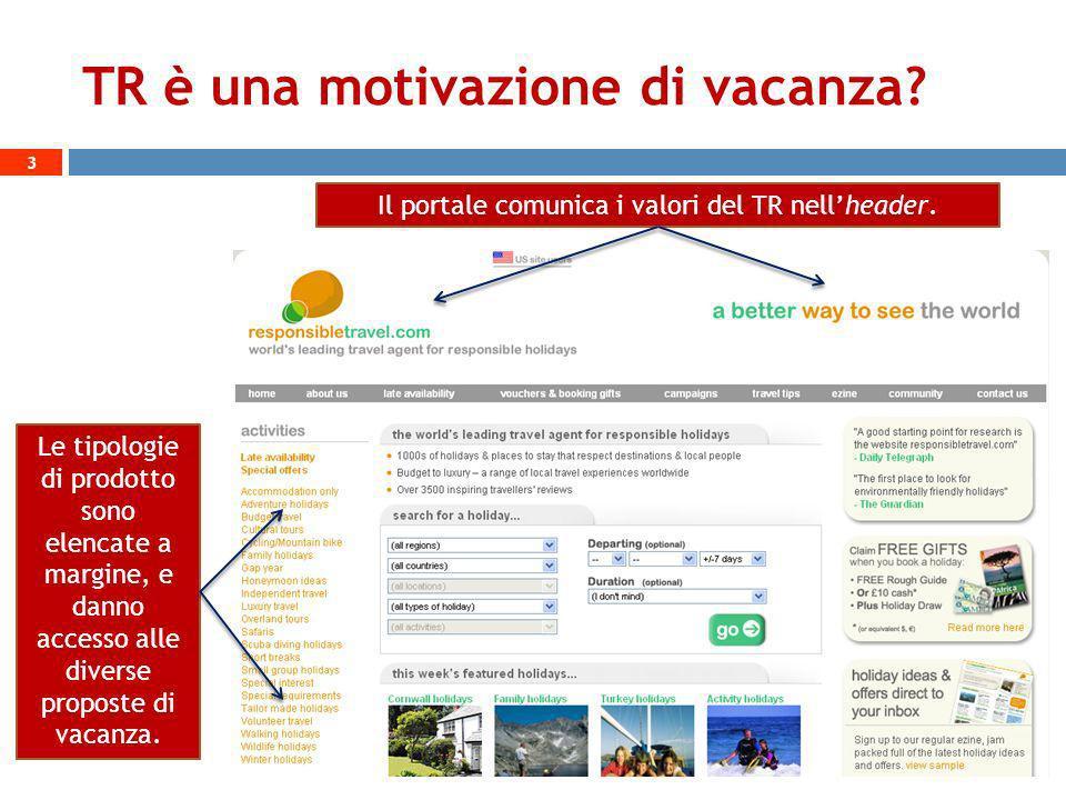 TR è una motivazione di vacanza? 3 Il portale comunica i valori del TR nellheader. Le tipologie di prodotto sono elencate a margine, e danno accesso a