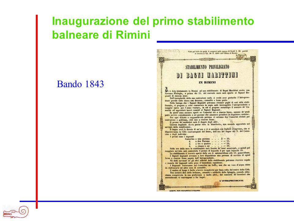 Inaugurazione del primo stabilimento balneare di Rimini Bando 1843
