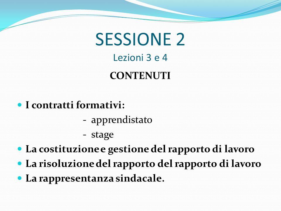 SESSIONE 2 Lezioni 3 e 4 CONTENUTI I contratti formativi: - apprendistato - stage La costituzione e gestione del rapporto di lavoro La risoluzione del