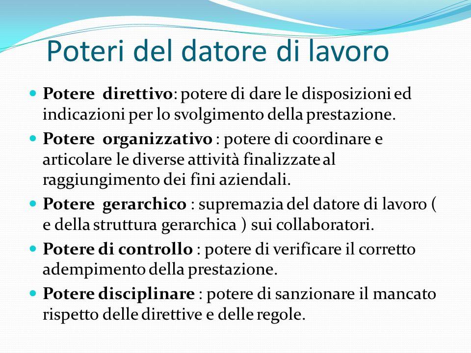 Poteri del datore di lavoro Potere direttivo: potere di dare le disposizioni ed indicazioni per lo svolgimento della prestazione. Potere organizzativo