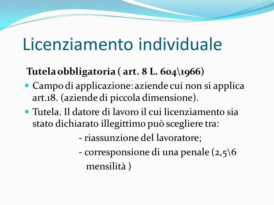 Licenziamento individuale Tutela obbligatoria ( art. 8 L. 604\1966) Campo di applicazione: aziende cui non si applica art.18. (aziende di piccola dime