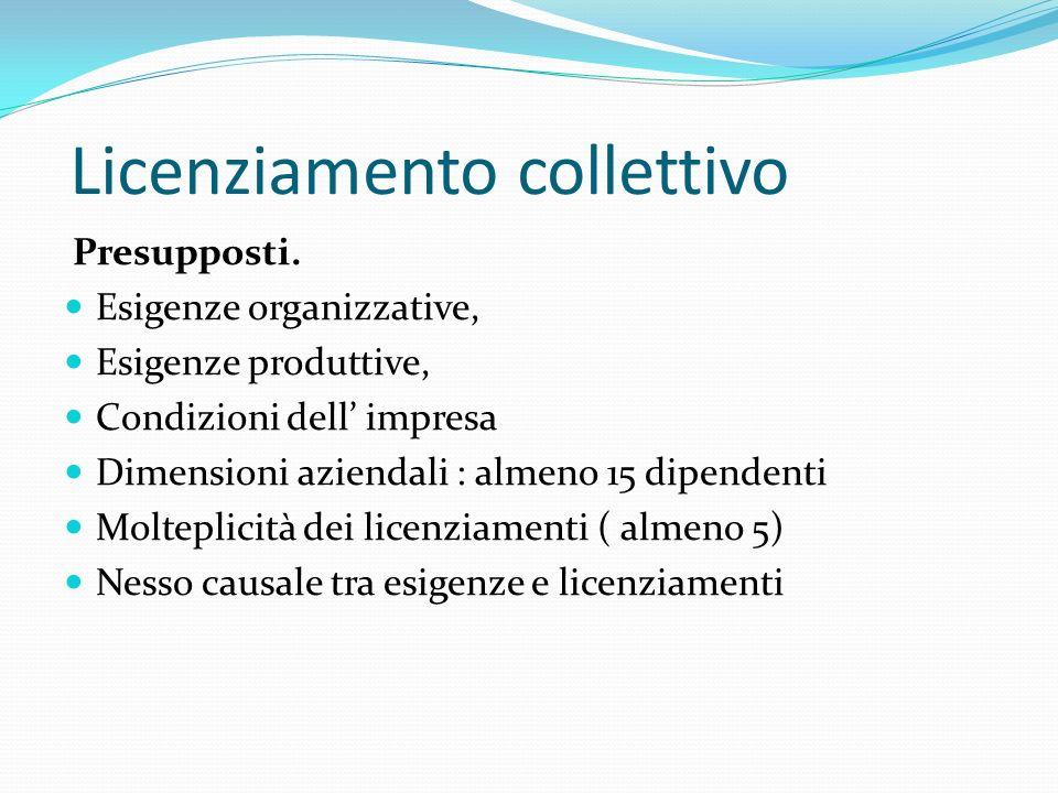Licenziamento collettivo Presupposti. Esigenze organizzative, Esigenze produttive, Condizioni dell impresa Dimensioni aziendali : almeno 15 dipendenti