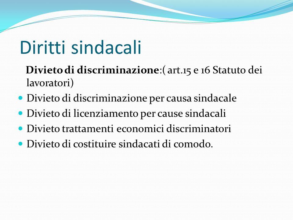 Diritti sindacali Divieto di discriminazione:( art.15 e 16 Statuto dei lavoratori) Divieto di discriminazione per causa sindacale Divieto di licenziam