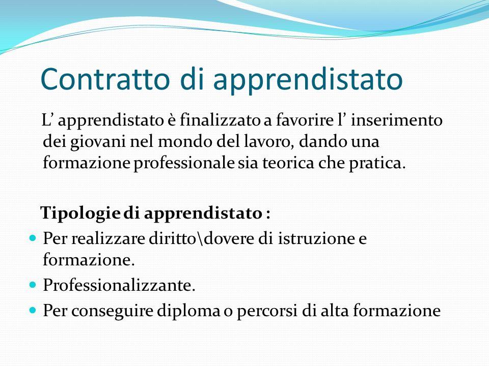 Contratto di apprendistato L apprendistato è finalizzato a favorire l inserimento dei giovani nel mondo del lavoro, dando una formazione professionale