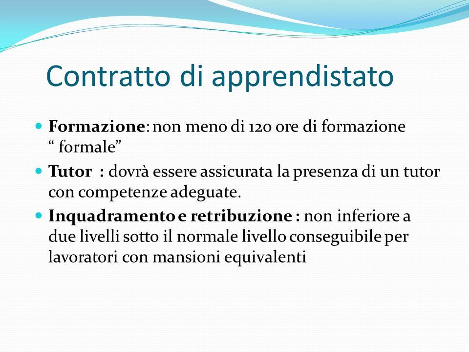 Contratto di apprendistato Formazione: non meno di 120 ore di formazione formale Tutor : dovrà essere assicurata la presenza di un tutor con competenz