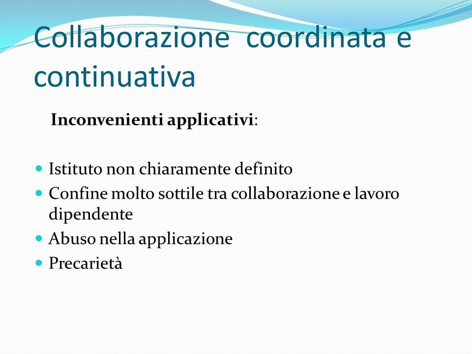 Collaborazione coordinata e continuativa Inconvenienti applicativi: Istituto non chiaramente definito Confine molto sottile tra collaborazione e lavor