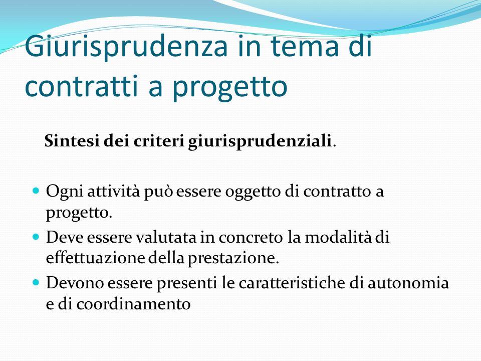 Giurisprudenza in tema di contratti a progetto Sintesi dei criteri giurisprudenziali. Ogni attività può essere oggetto di contratto a progetto. Deve e