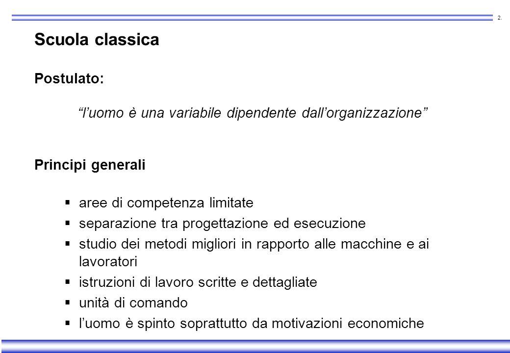 1. Teorie organizzative Scuola classica Scuola sociale Scuola sistemica
