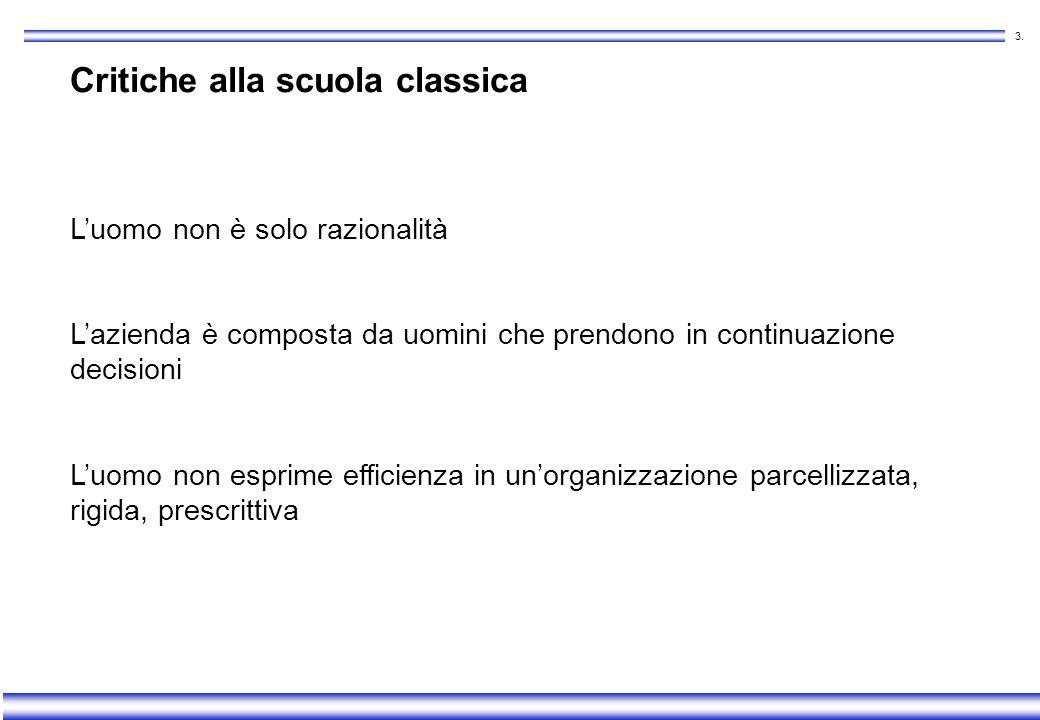 2. Scuola classica Postulato: luomo è una variabile dipendente dallorganizzazione Principi generali aree di competenza limitate separazione tra proget