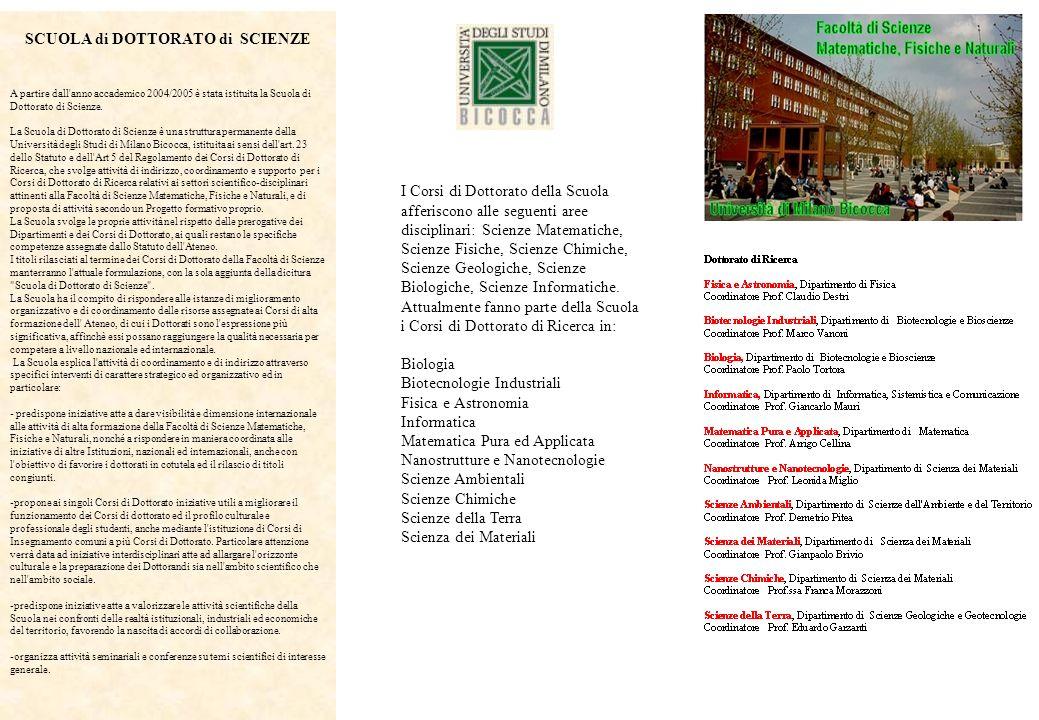 SCUOLA di DOTTORATO di SCIENZE A partire dall'anno accademico 2004/2005 è stata istituita la Scuola di Dottorato di Scienze. La Scuola di Dottorato di