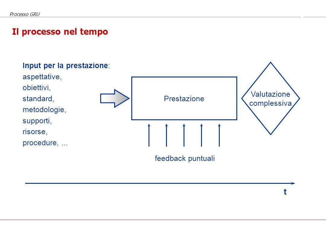 Processo GRU Valutazione della prestazione e feedback puntuali Durante il lavoro quotidiano tutti ricevono informazioni su come stanno lavorando dai c