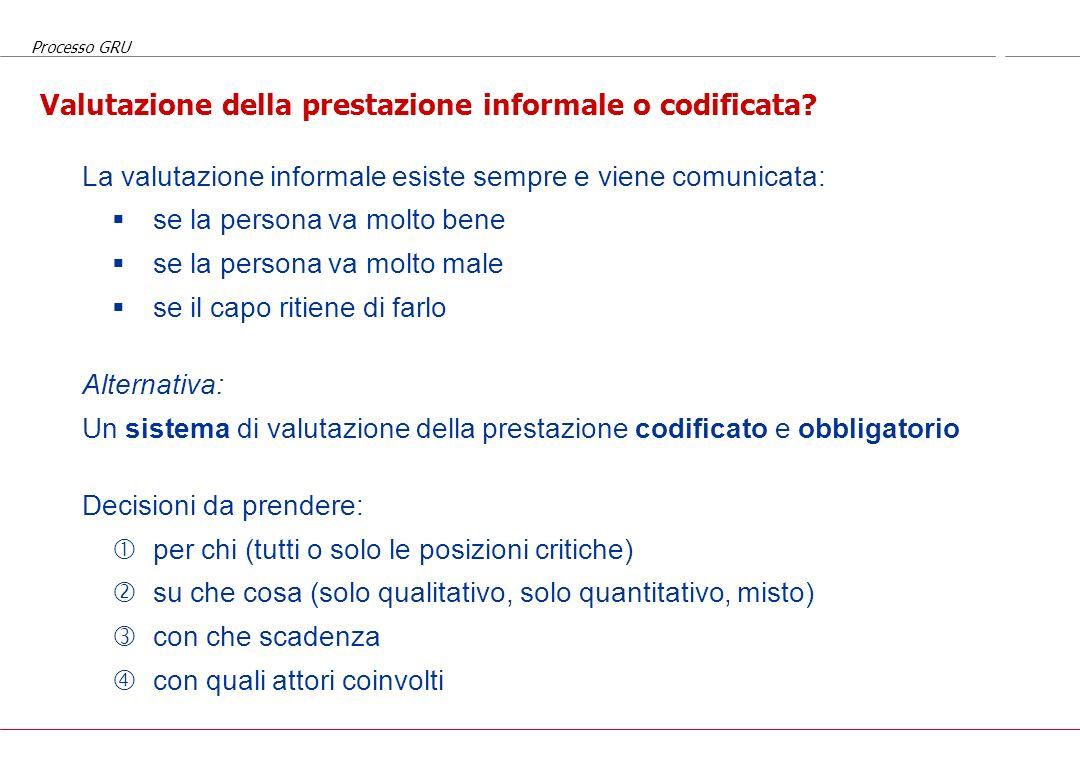 Processo GRU Il processo nel tempo Input per la prestazione: aspettative, obiettivi, standard, metodologie, supporti, risorse, procedure,... Prestazio