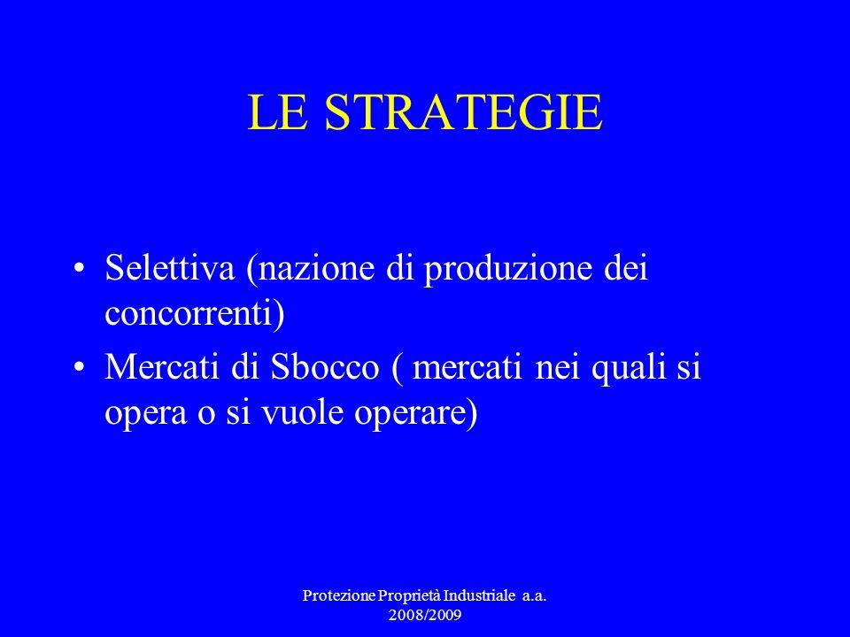 LE STRATEGIE Selettiva (nazione di produzione dei concorrenti) Mercati di Sbocco ( mercati nei quali si opera o si vuole operare) Protezione Proprietà