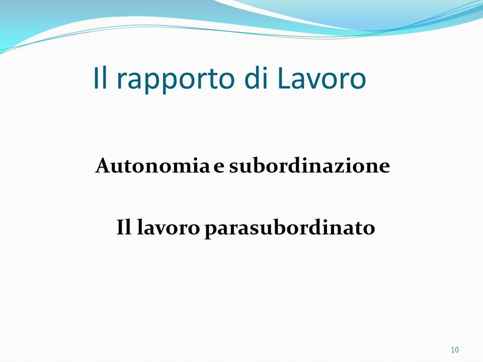 Il rapporto di Lavoro Autonomia e subordinazione Il lavoro parasubordinato 10