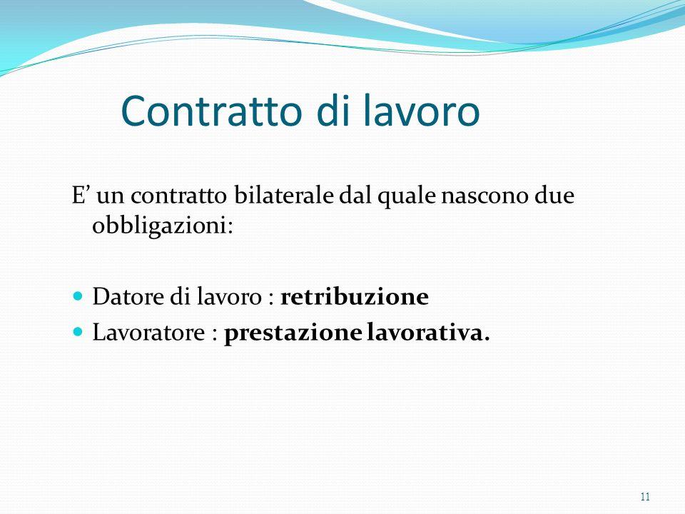 Contratto di lavoro E un contratto bilaterale dal quale nascono due obbligazioni: Datore di lavoro : retribuzione Lavoratore : prestazione lavorativa.