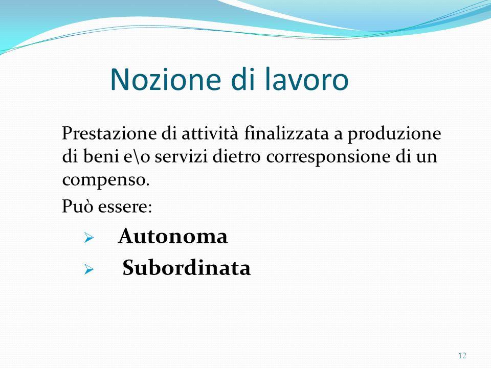 Nozione di lavoro Prestazione di attività finalizzata a produzione di beni e\o servizi dietro corresponsione di un compenso. Può essere : Autonoma Sub