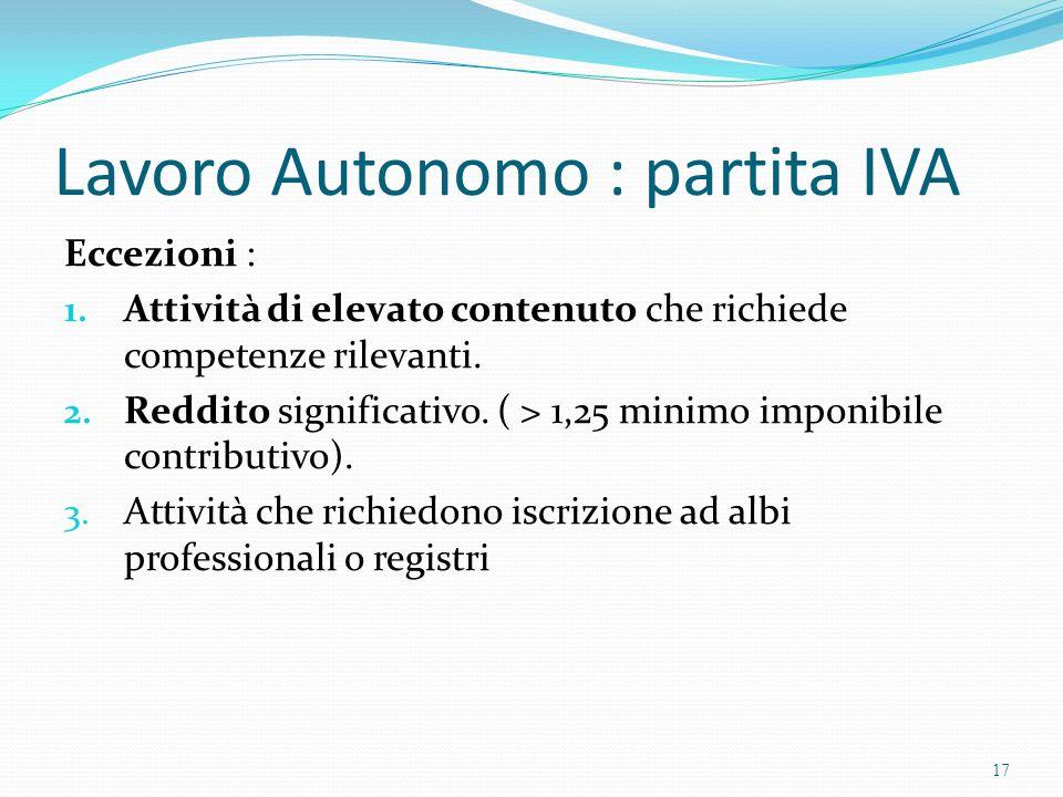 Lavoro Autonomo : partita IVA Eccezioni : 1. Attività di elevato contenuto che richiede competenze rilevanti. 2. Reddito significativo. ( > 1,25 minim