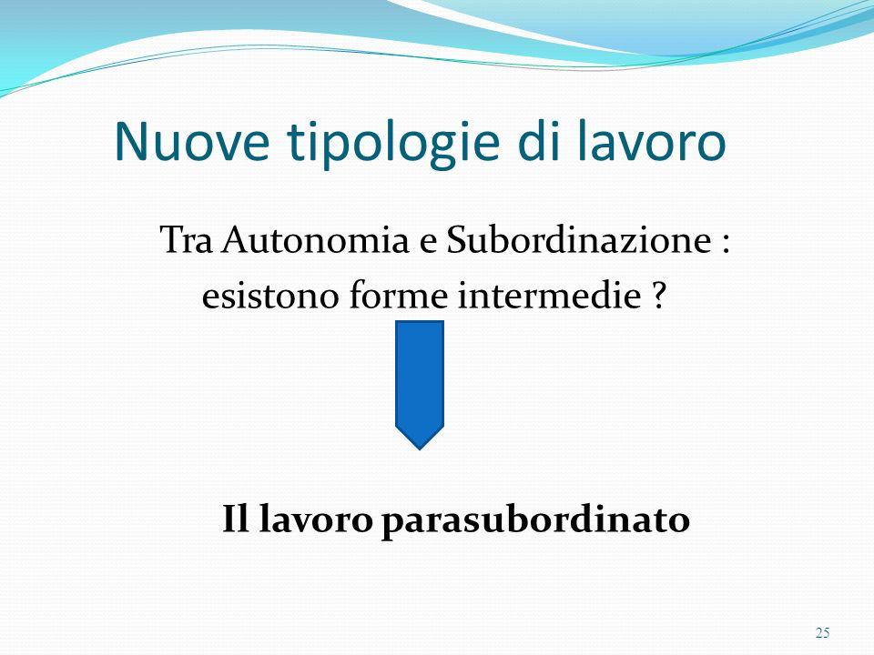 Nuove tipologie di lavoro Tra Autonomia e Subordinazione : esistono forme intermedie ? Il lavoro parasubordinato 25