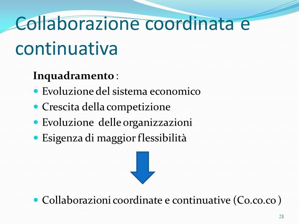 Collaborazione coordinata e continuativa Inquadramento : Evoluzione del sistema economico Crescita della competizione Evoluzione delle organizzazioni