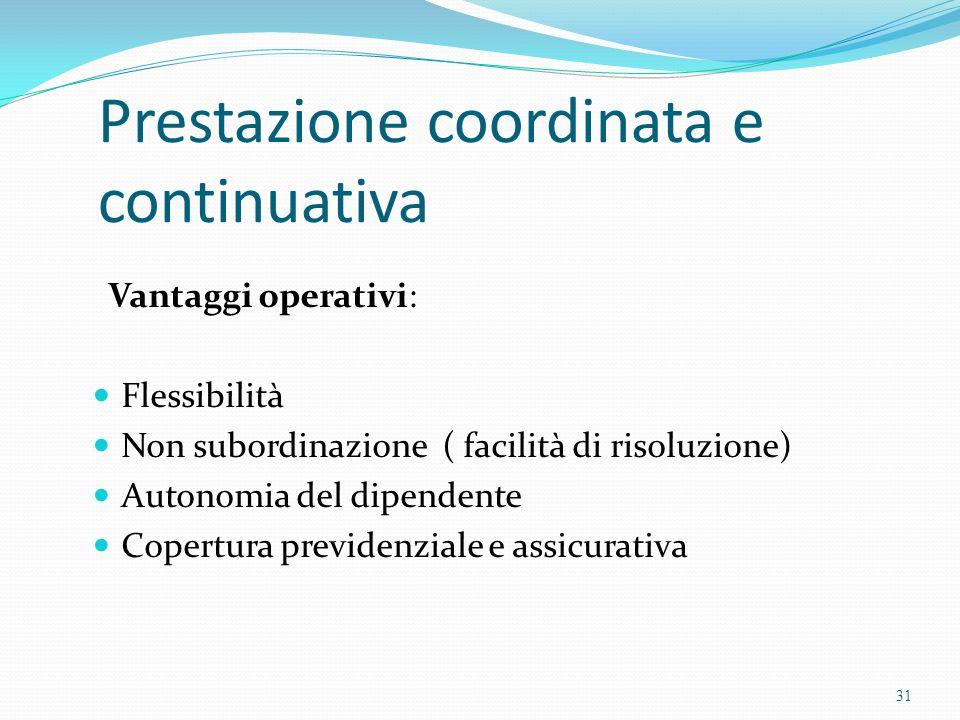 Prestazione coordinata e continuativa Vantaggi operativi: Flessibilità Non subordinazione ( facilità di risoluzione) Autonomia del dipendente Copertur