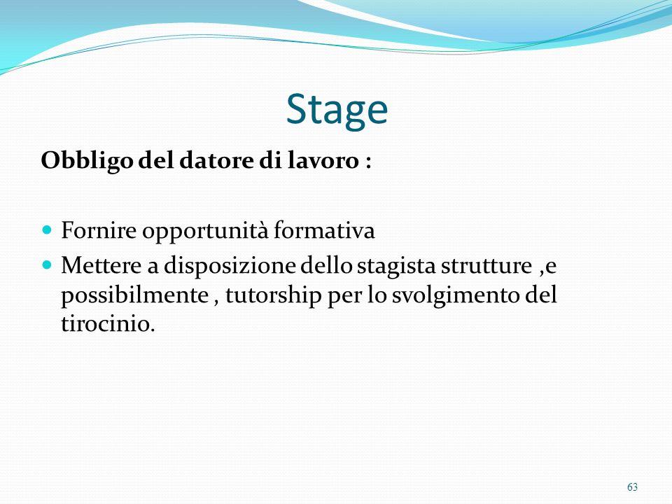 Stage Obbligo del datore di lavoro : Fornire opportunità formativa Mettere a disposizione dello stagista strutture,e possibilmente, tutorship per lo s