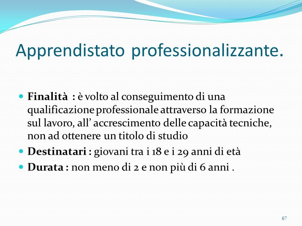 Apprendistato professionalizzante. Finalità : è volto al conseguimento di una qualificazione professionale attraverso la formazione sul lavoro, all ac
