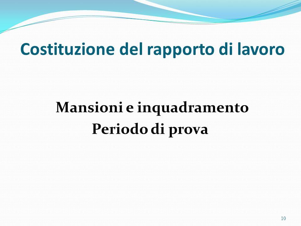 Costituzione del rapporto di lavoro Mansioni e inquadramento Periodo di prova 10
