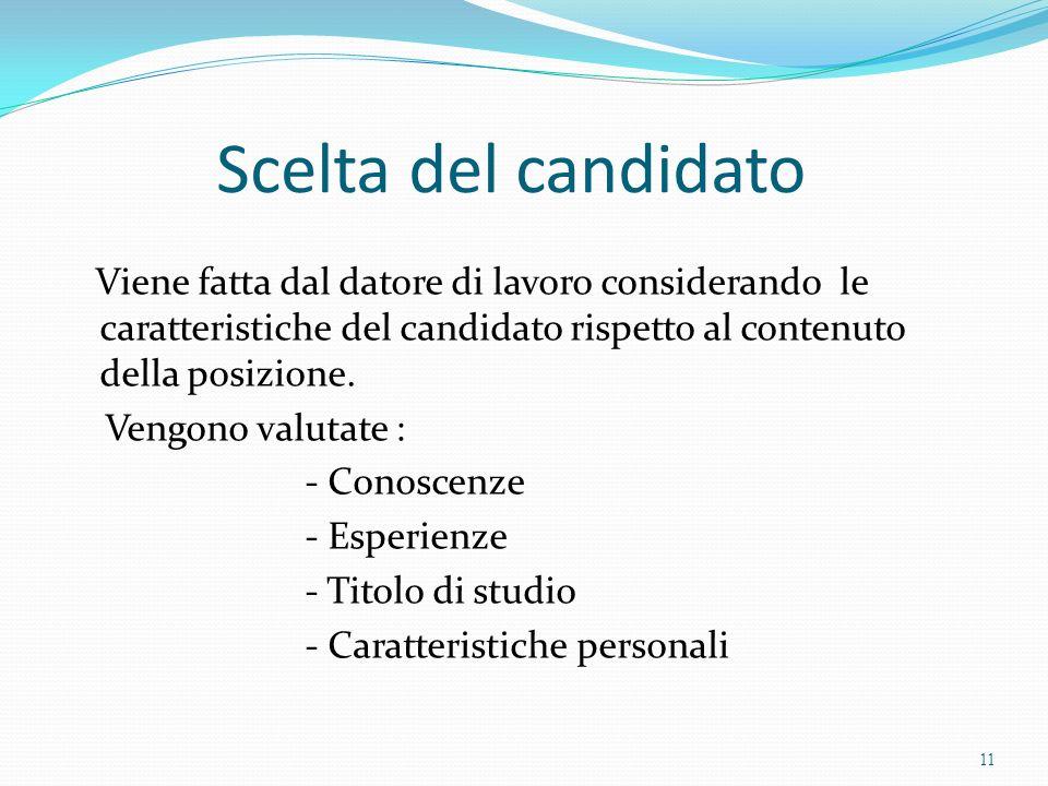 Scelta del candidato Viene fatta dal datore di lavoro considerando le caratteristiche del candidato rispetto al contenuto della posizione. Vengono val