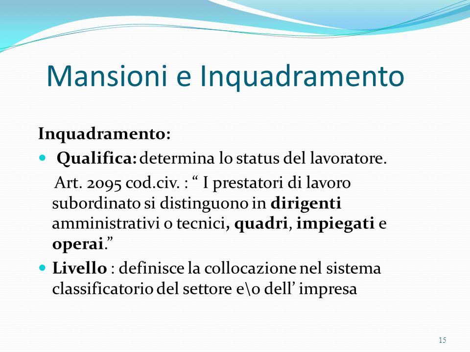 Mansioni e Inquadramento Inquadramento: Qualifica: determina lo status del lavoratore. Art. 2095 cod.civ. : I prestatori di lavoro subordinato si dist