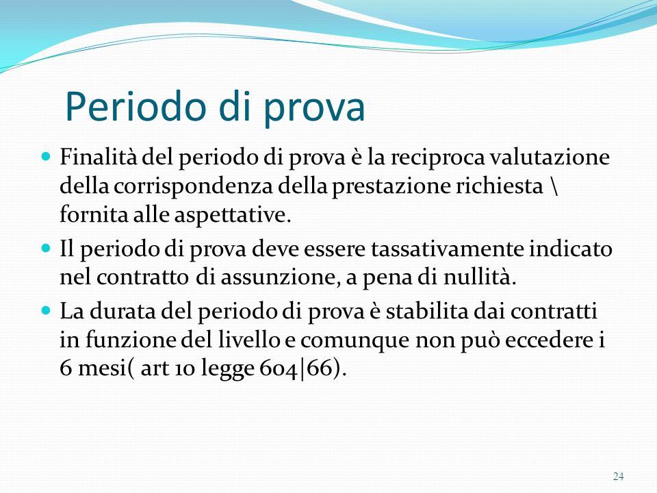 Periodo di prova Finalità del periodo di prova è la reciproca valutazione della corrispondenza della prestazione richiesta \ fornita alle aspettative.