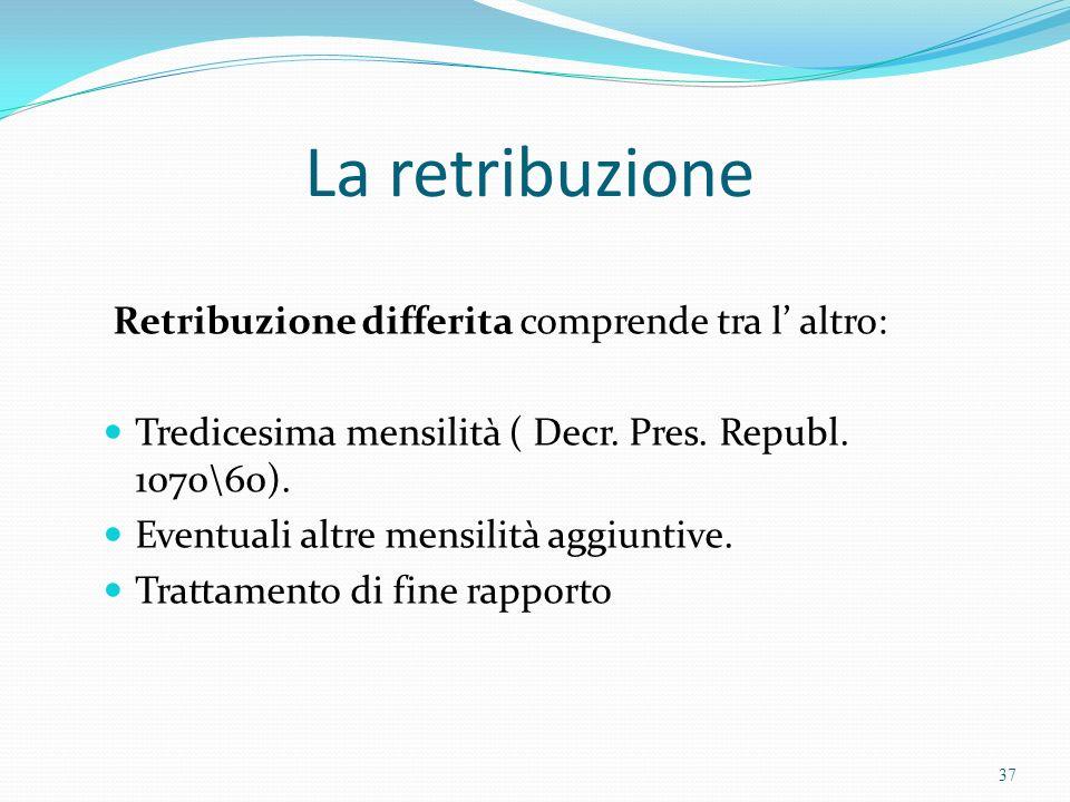 La retribuzione Retribuzione differita comprende tra l altro: Tredicesima mensilità ( Decr. Pres. Republ. 1070\60). Eventuali altre mensilità aggiunti