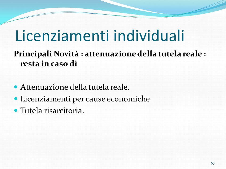 Licenziamenti individuali Principali Novità : attenuazione della tutela reale : resta in caso di Attenuazione della tutela reale. Licenziamenti per ca